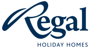The Regal logo is in a bold dark blue distinctive personalised script set on a white background. The words holiday home are set below in capitals.
