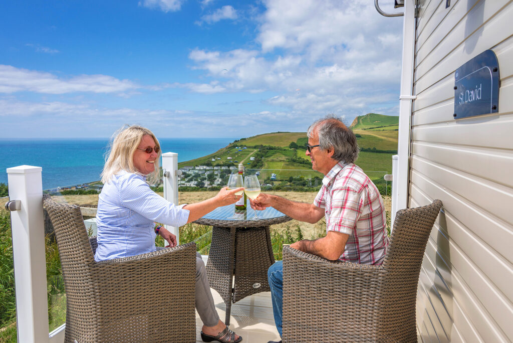 holiday home owners on verandah
