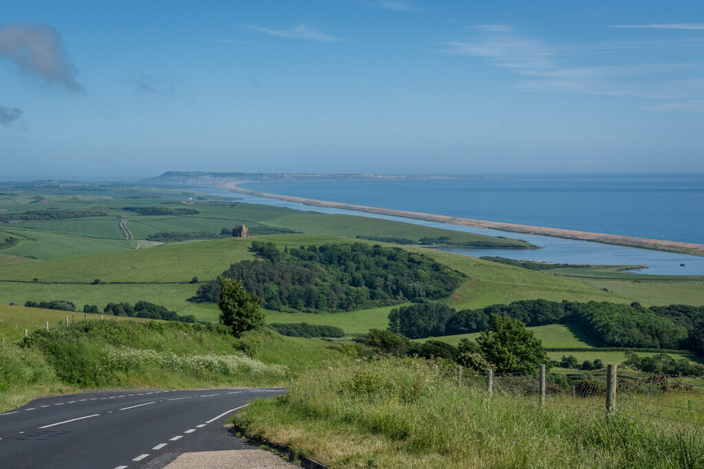 view over chesil beach from abbotsbury